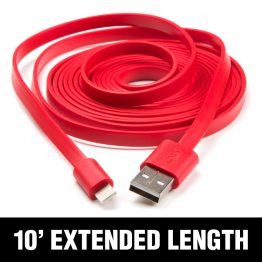 10' Red Flat Lightning Cable