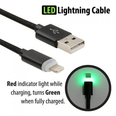 Braided LED 3' Lightning Cable - with light indicator!