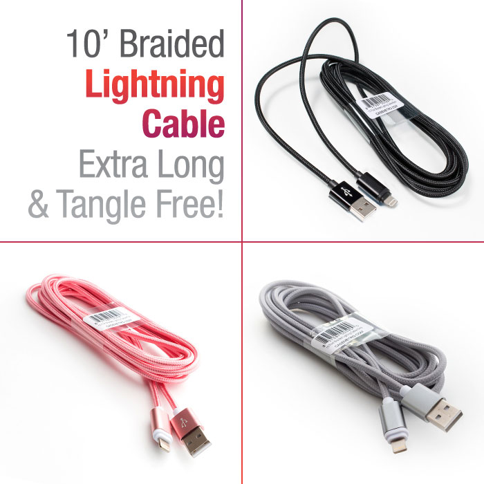 10 Braided Lightning Compatible Cable