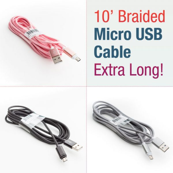 10 ft Braided Micro USB Cable – Extra long (Black, Gray, Pink ...