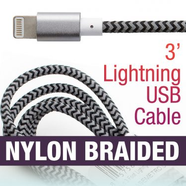 3' Lightning Nylon Striped Cable